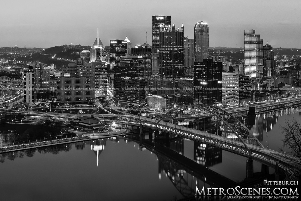 Black and White Pittsburgh Skyline reflections at night