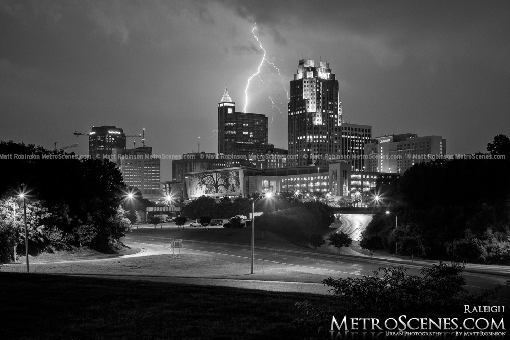 Lightning over City of Raleigh Black and White