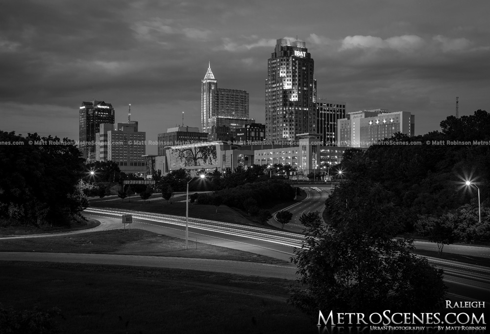 Raleigh Skyline at night Black and White