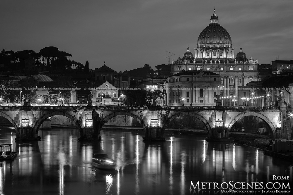 The Tiber River with the St. Peter's Basilica at night Black and White Rome