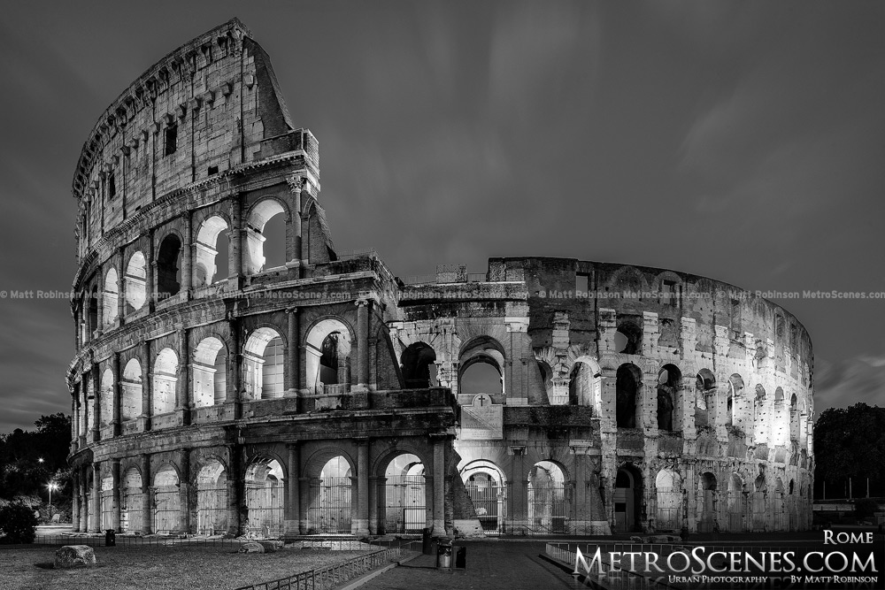 The colosseum of rome at night black and white