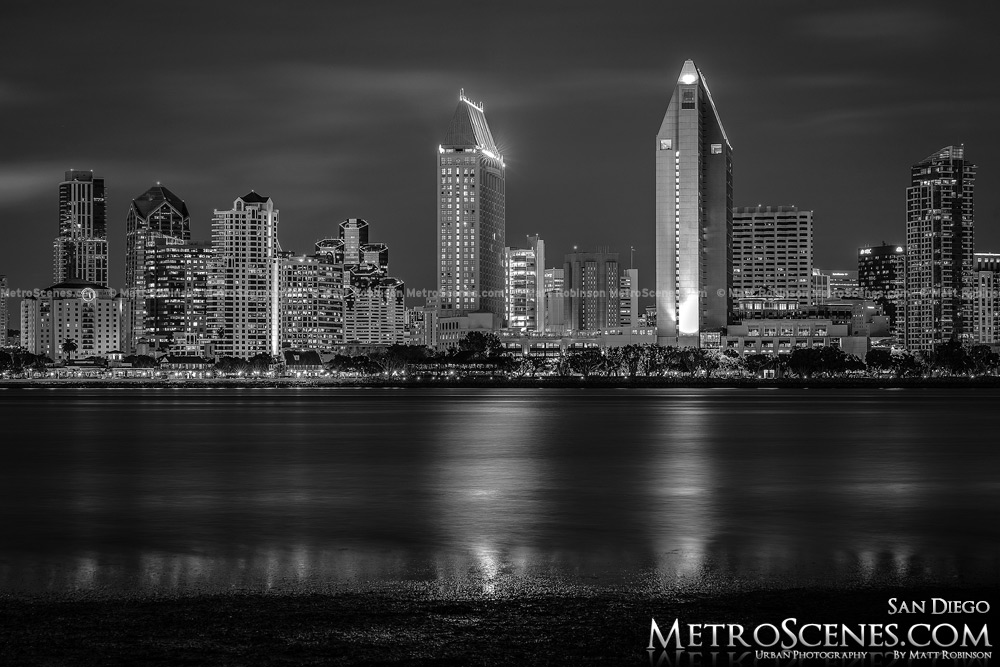 Black and White San Diego Skyline at night