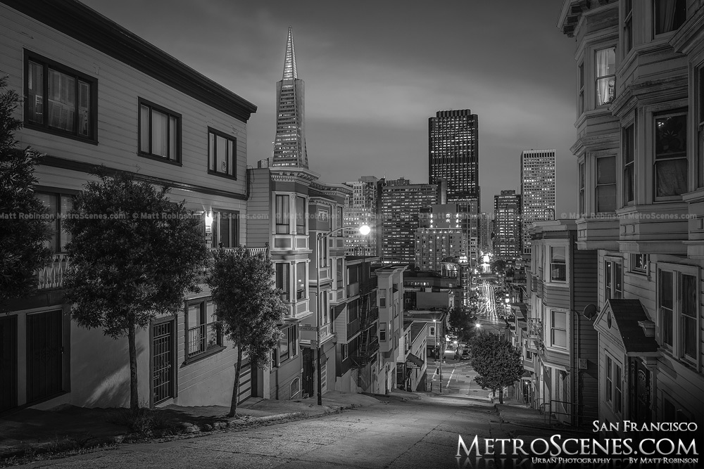 San Francisco at night from Telegraph Hill Black and White