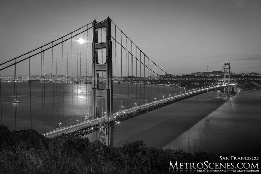 Golden Gate Bridge at night with moon Black and White