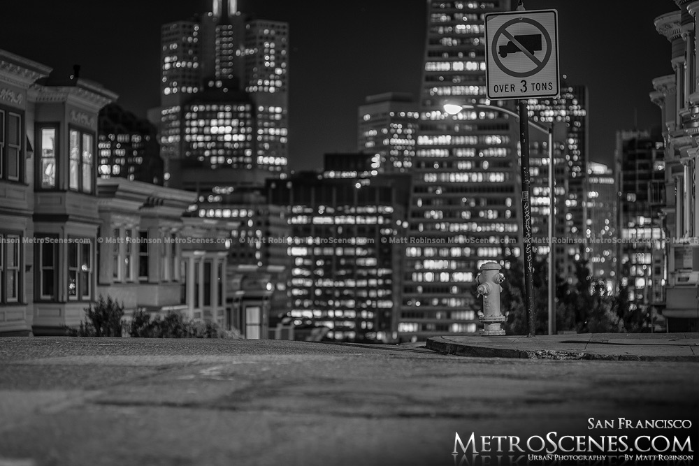 Black and White San Francisco at night Telegraph Hill