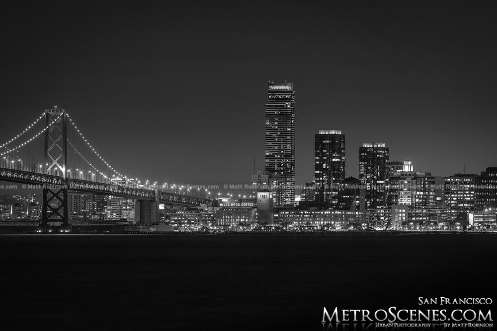 Treasure Island Bay Bridge Black and White