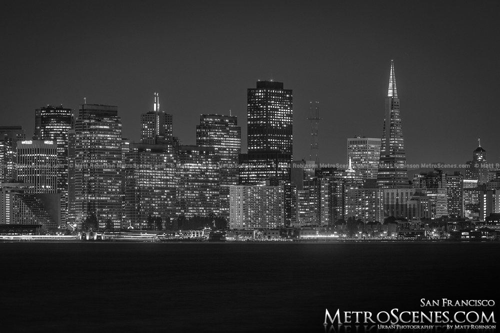 San Francisco Skyline At Night Black And White