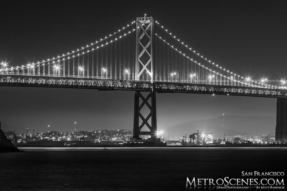 Bay Bridge at night Black and White