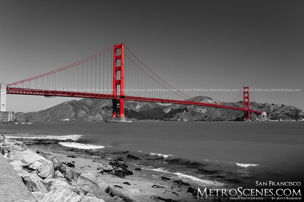 Black and White with Red Golden Gate Bridge San Francisco