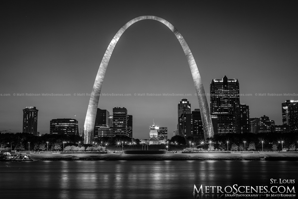 St. Louis Skyline with Arch Black and White