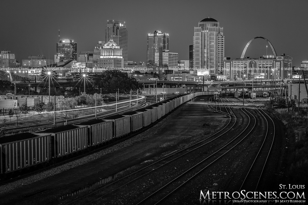 Black and White Saint Louis Skyline with Railroad Tracks at night