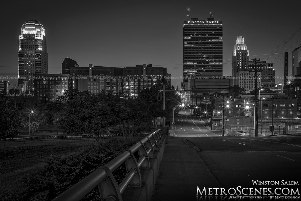 Winston Salem Skyline at night Black and White