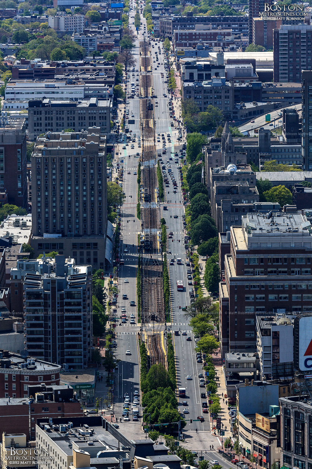 Long view of Commonwealth Avenue in Boston
