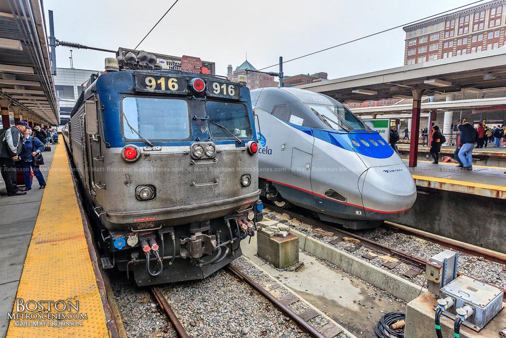 Amtrak Acela Locomotive and 916 AEM7