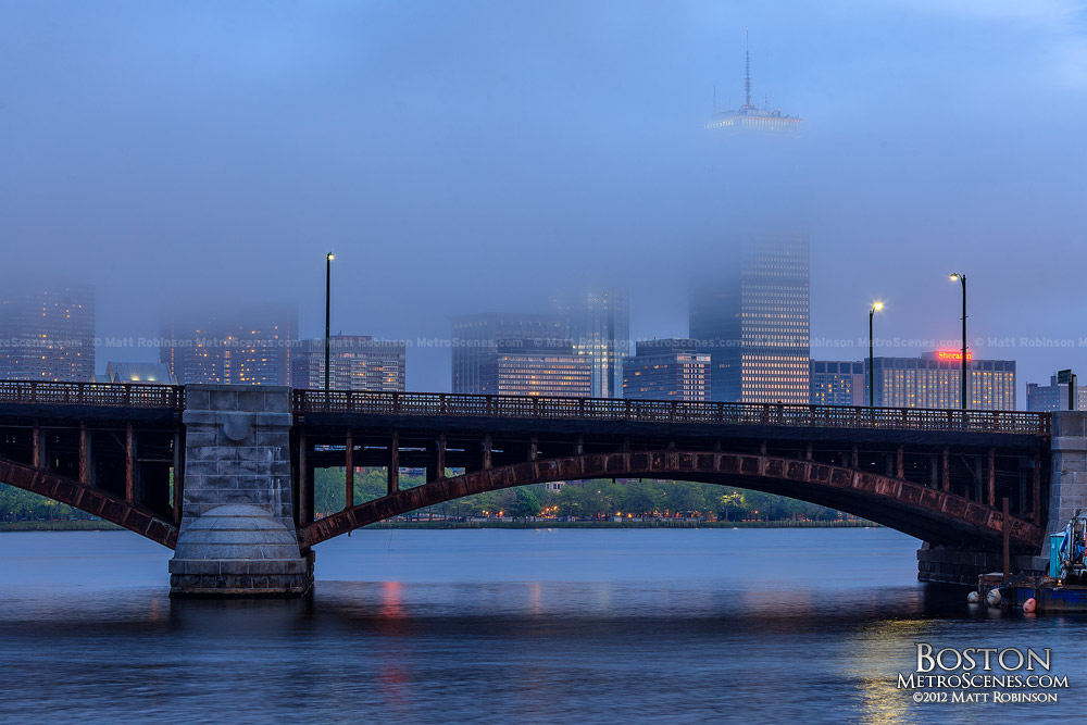 Foggy Back Bay Skyline with Longfellow Bridge