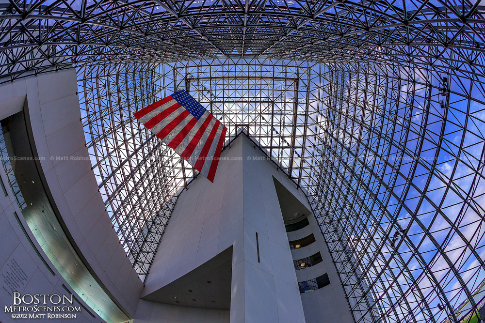 American Flag inside the pavilion of the JFK Library