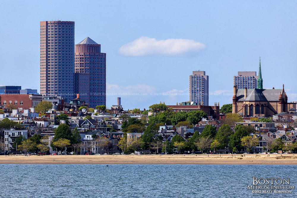 Boston's One and Two International Place with the Old Harbor Carson Beach