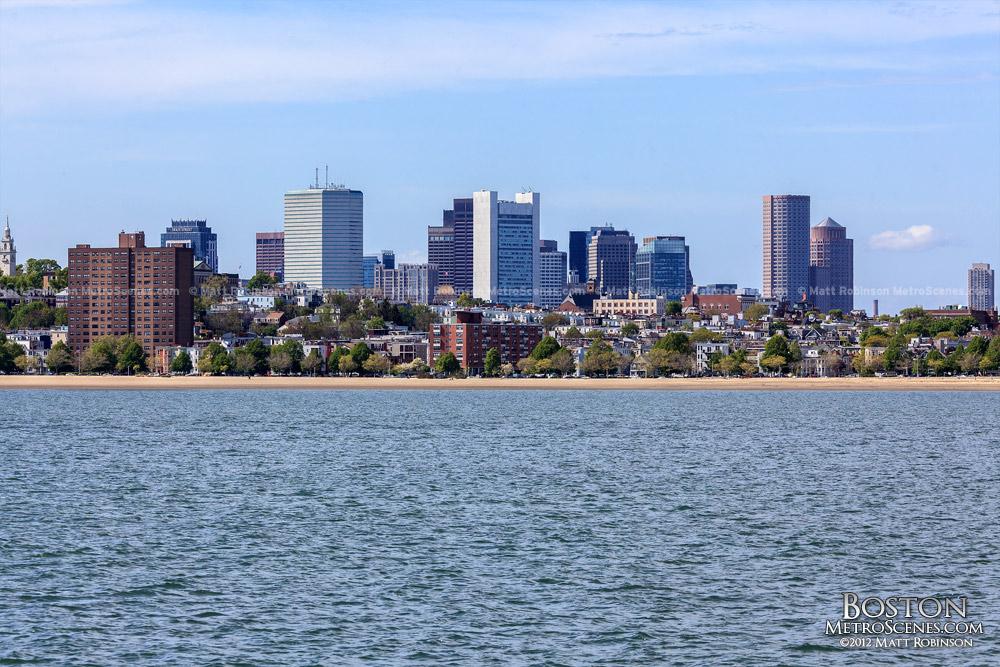 Boston skyscrapers from JFK Library Harborwalk