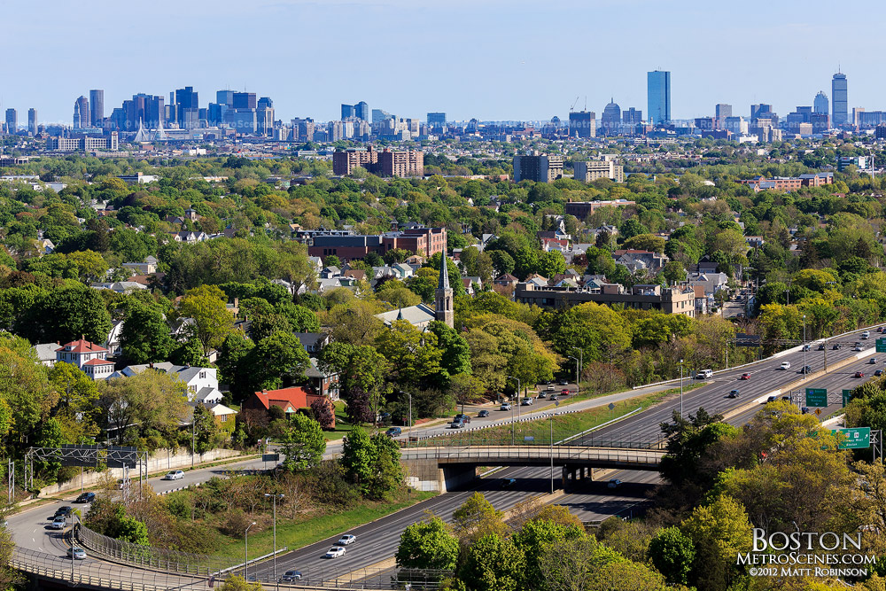 View of Boston Skyline from Wright's Tower