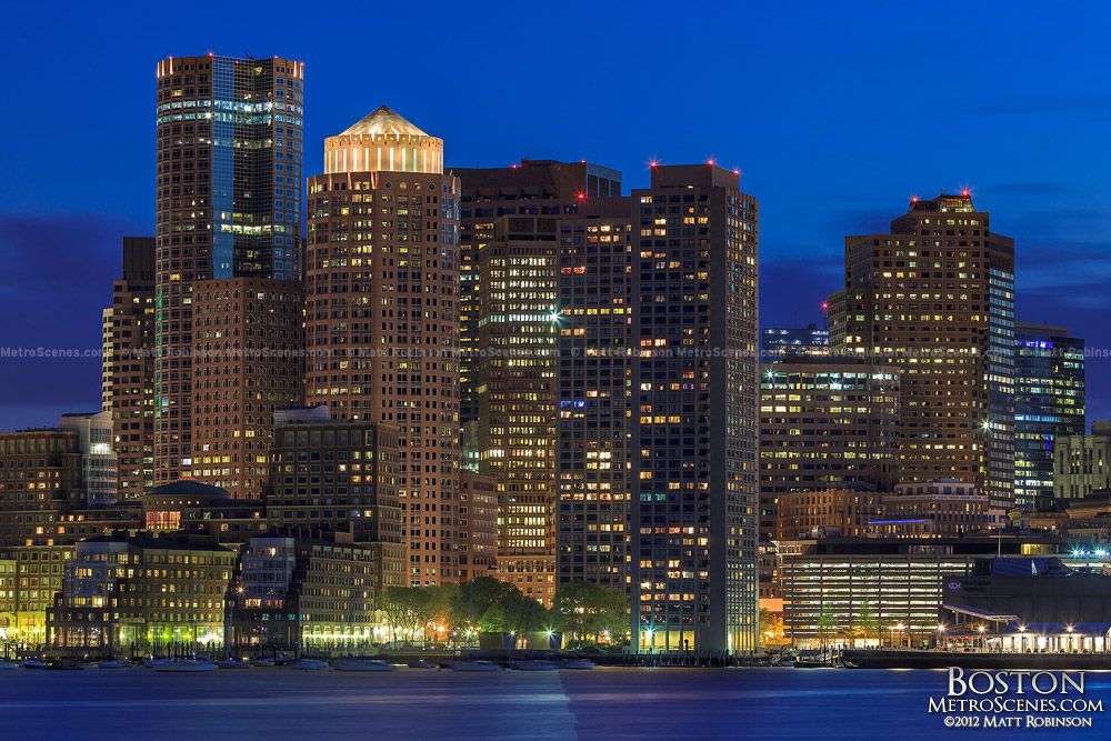 Boston Skyline at night from Piers Park
