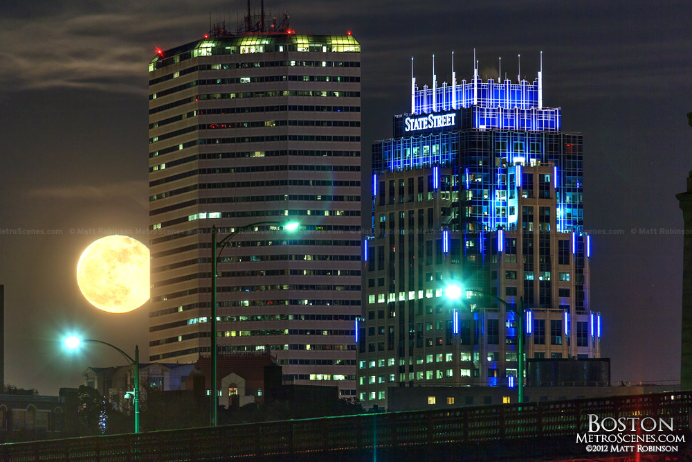 Supermoon rises behind One Financial Center and One Lincoln Street in Boston