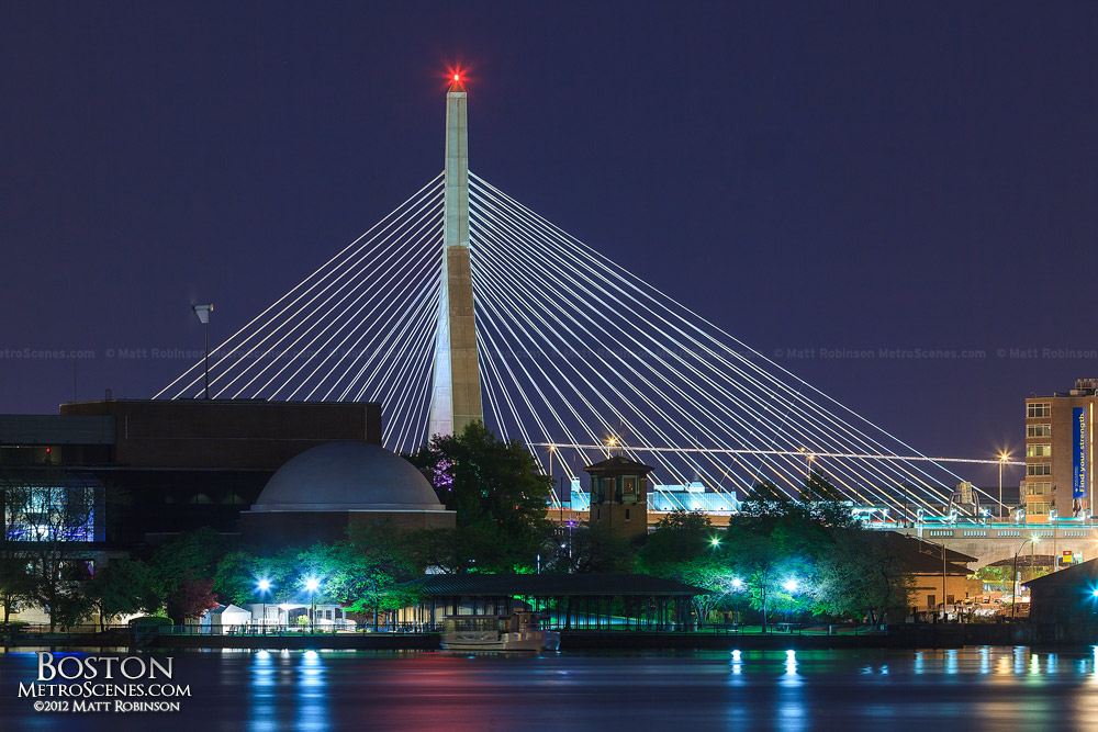Zakim Bridge Tower at night