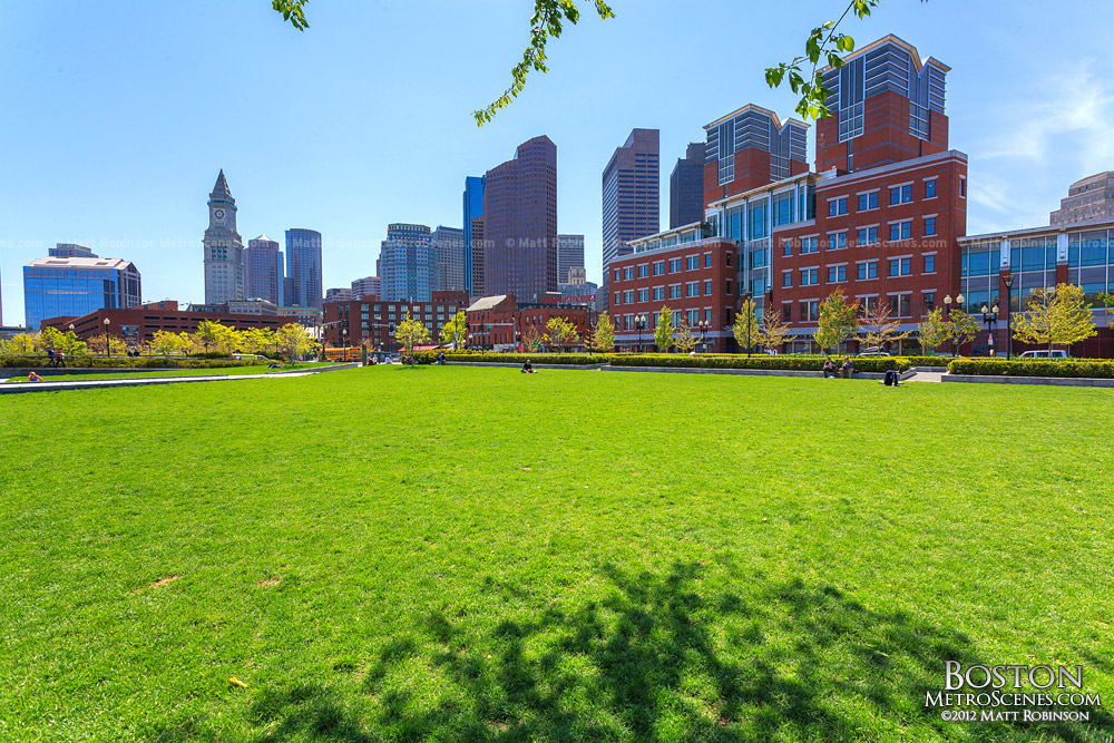 North End Park grass with Boston Skyline