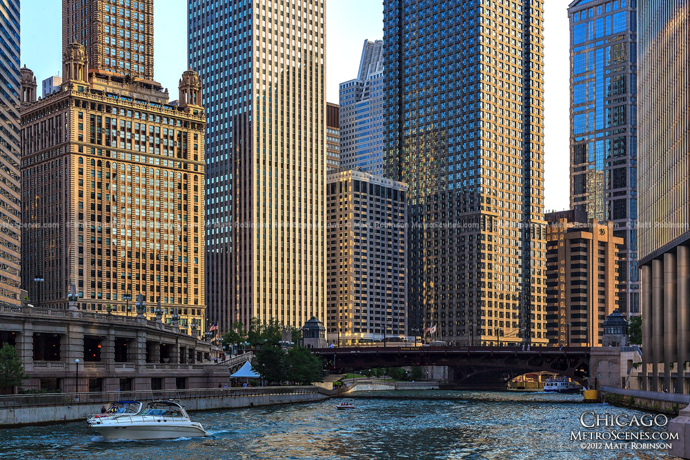 Chicago River with Golden tinted buildings