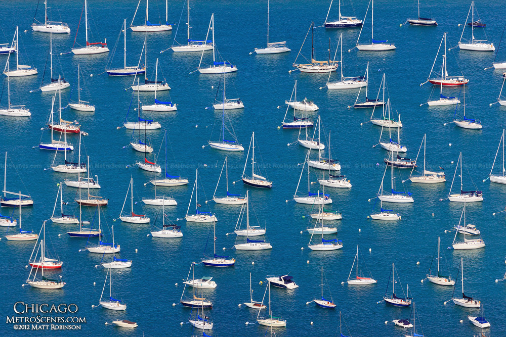 Boats in Chicago's Monroe Harbor