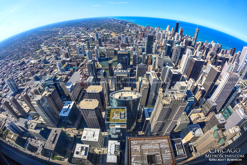 Fisheye of Chicago from Willis/Sears Tower