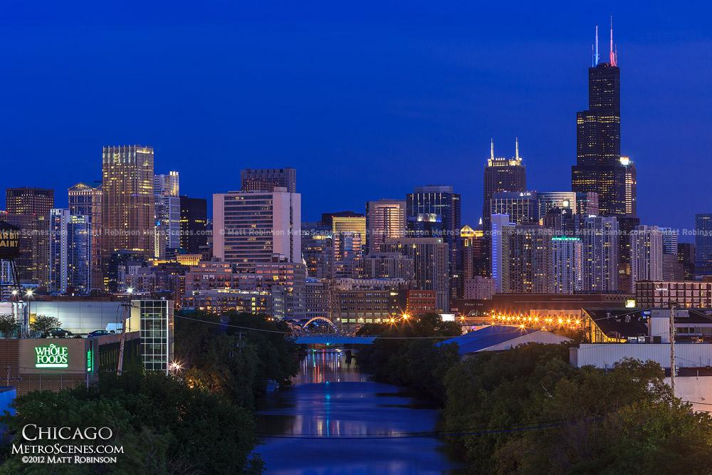 Chicago Skyline at night near the North Avenue Bridge