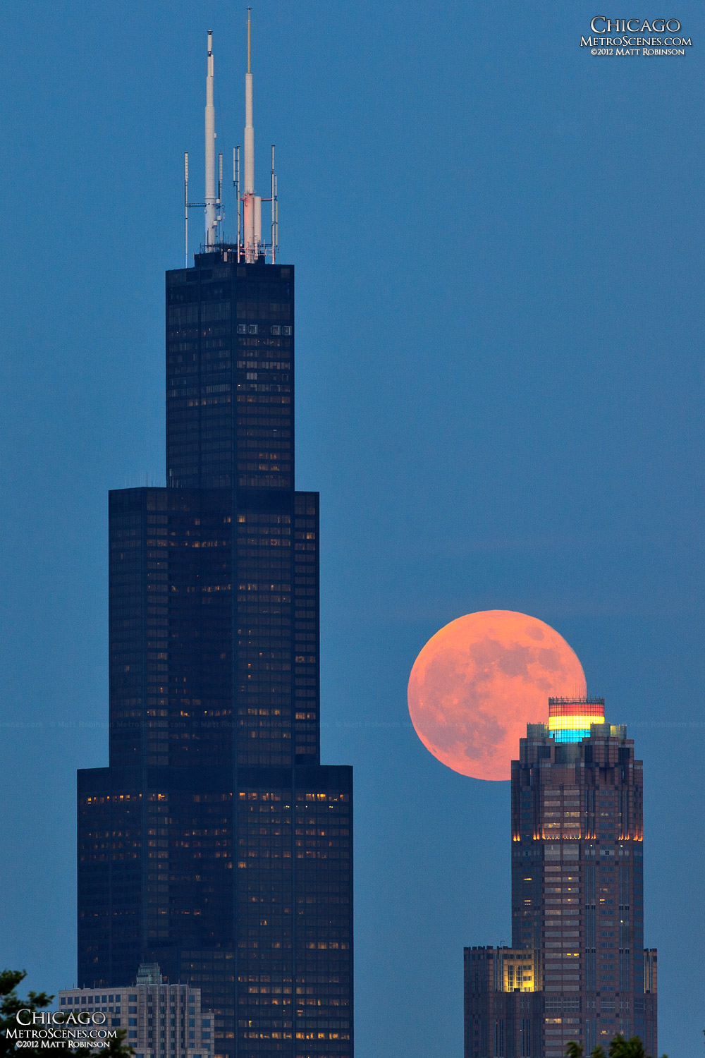 Moon rise behind Sears Tower
