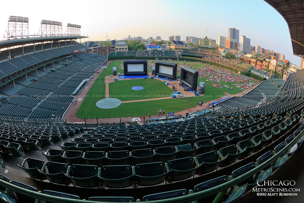 Fisheye of Wrigley Field during a Groupon movie night