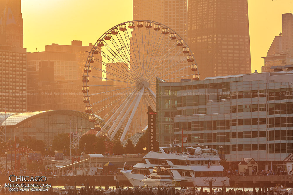 Navy Pier Ferris Wheel at Sunset