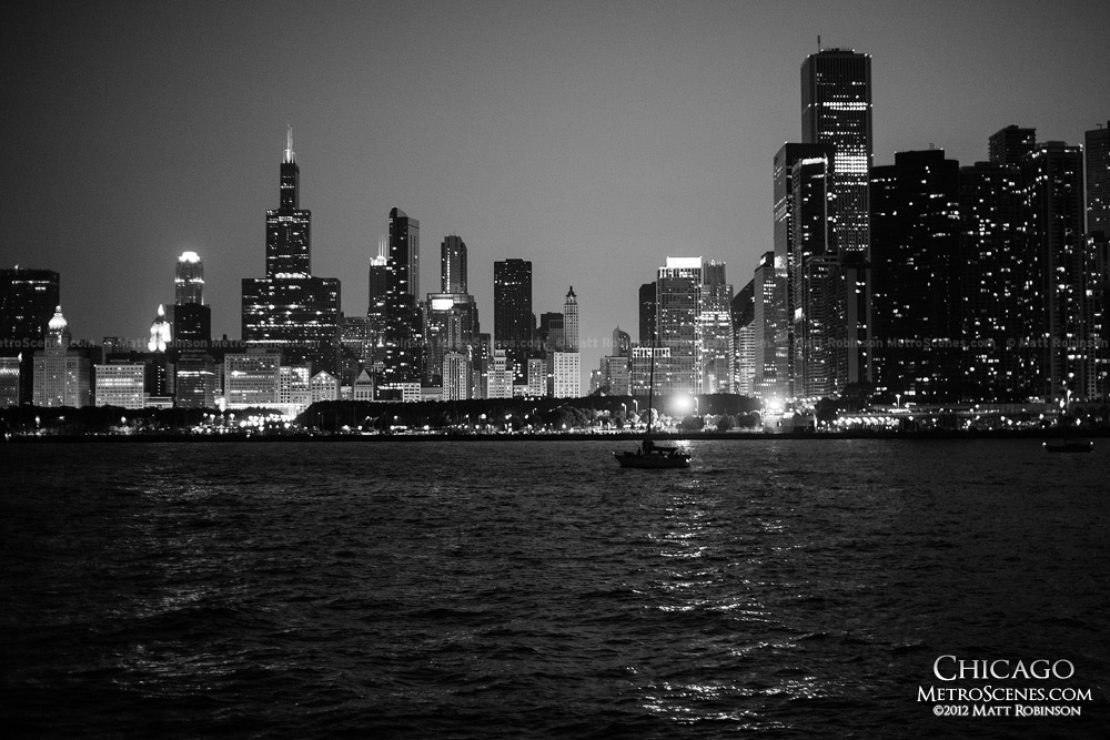 Black and White Chicago from Lake Michigan