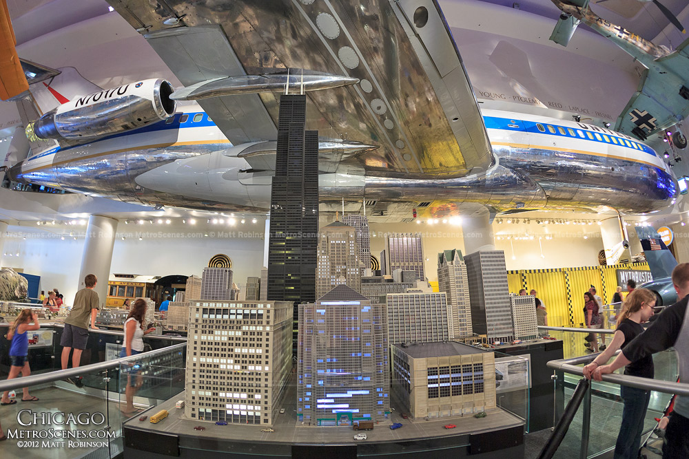 Chicago skyline model with Boeing 757