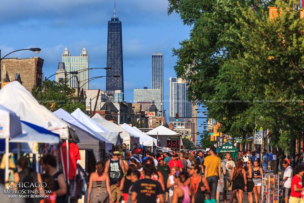West Fest crowds with Chicago skyline