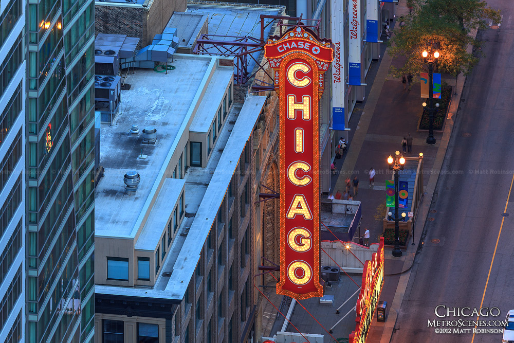 Chicago Theatre Marquee sign from Marina City Rooftop