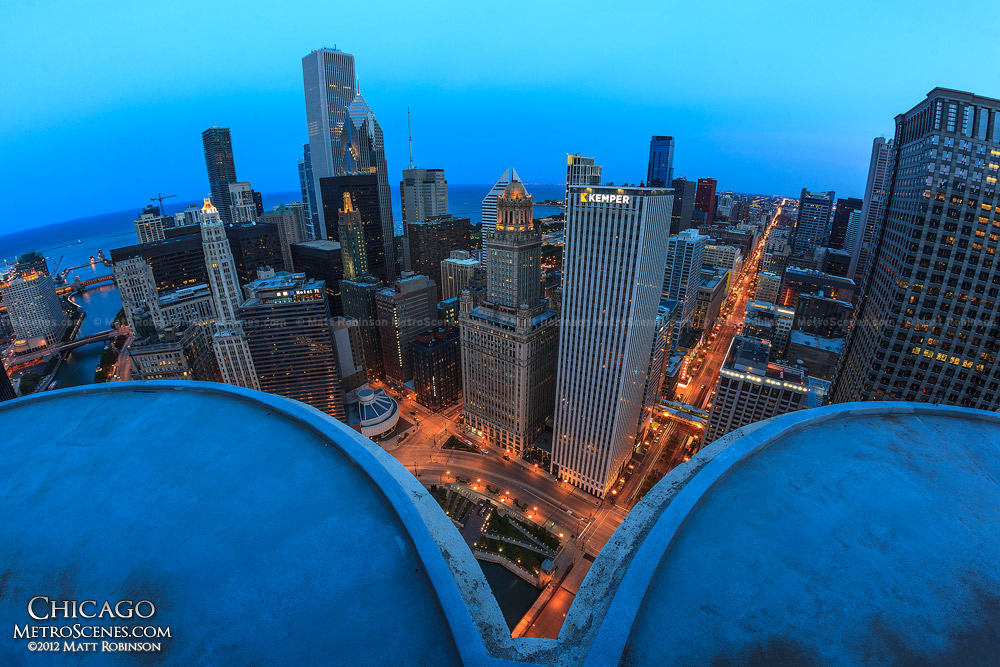 Chicago at night from Marina City