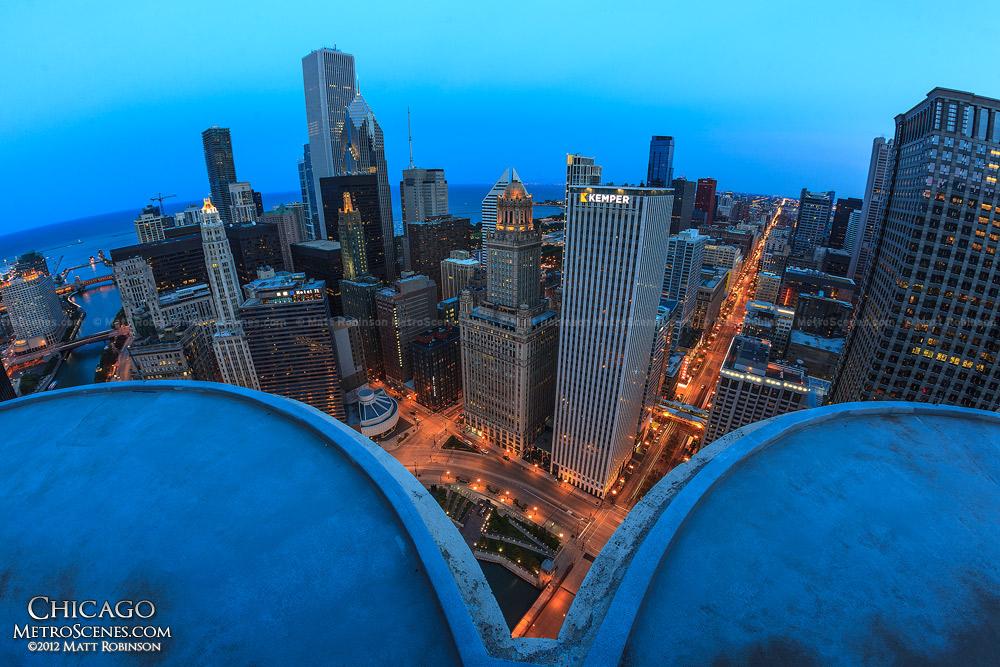 Chicago at night from Marina City