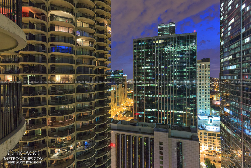 Night view from Marina City