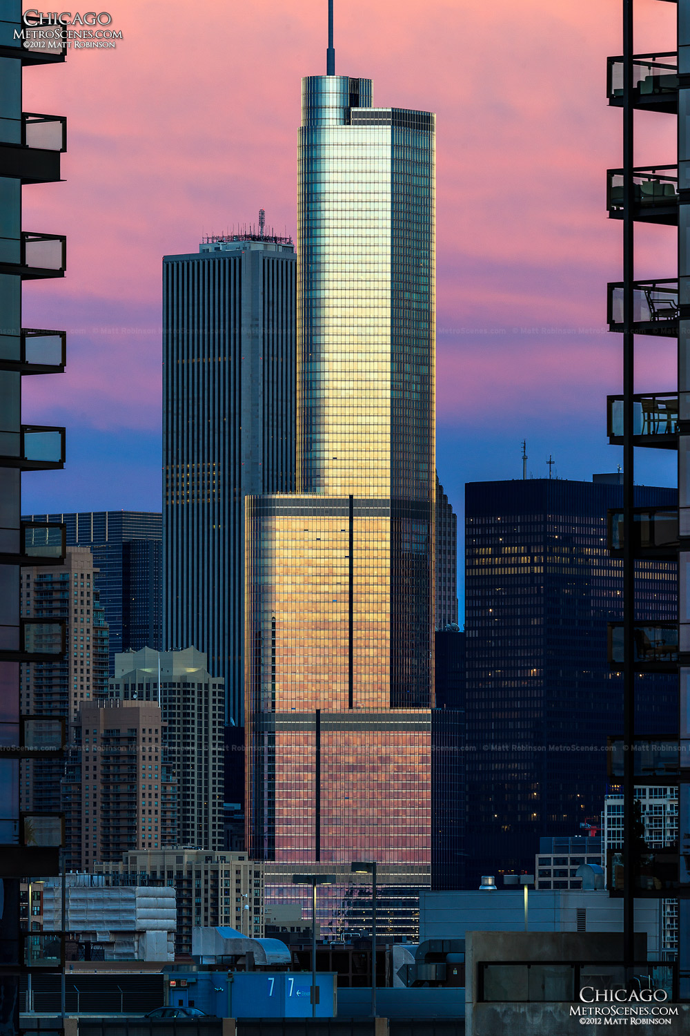 Sunset reflections on Trump International Hotel and Tower