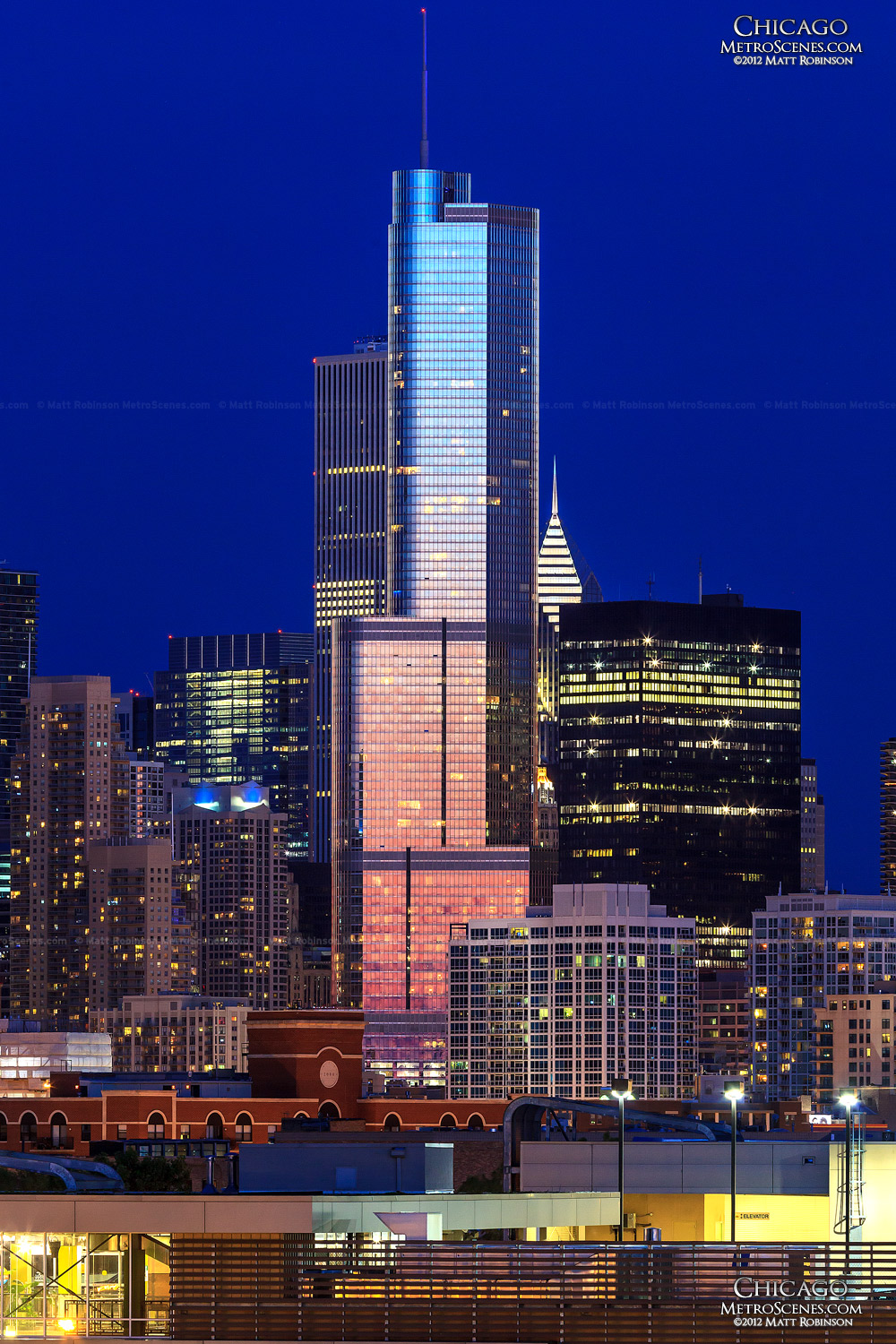 Pink and Blue Sunset mirrored on Trump Tower Chicago
