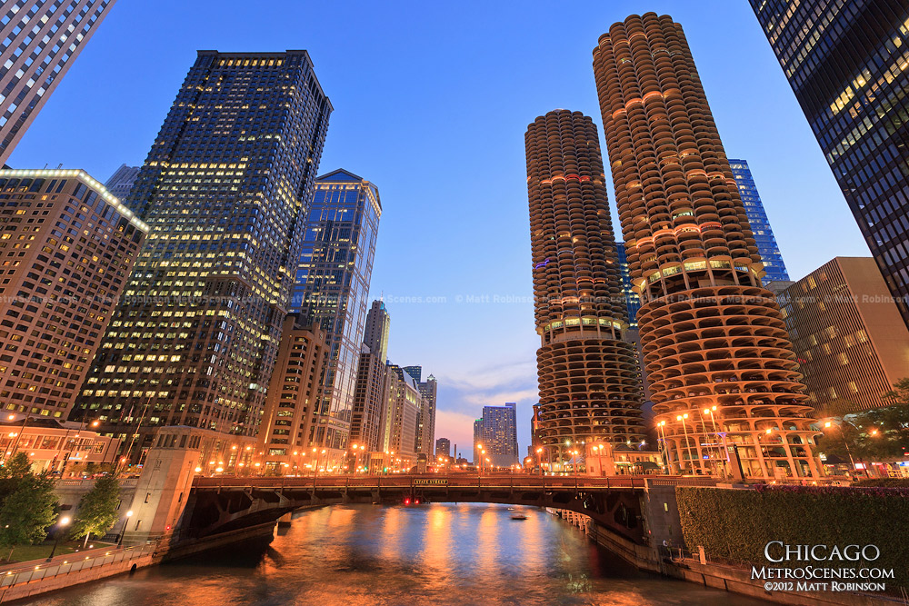 Marina City and Chicago River at night