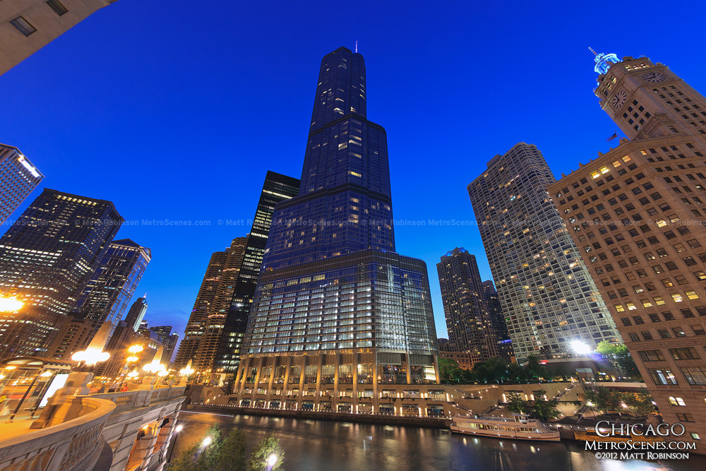 Trump Tower at night with the Chicago River