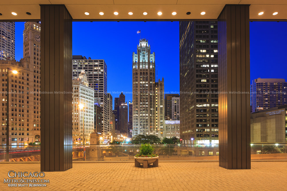 Tribune Tower at night from the base of 111 East Wacker Drive