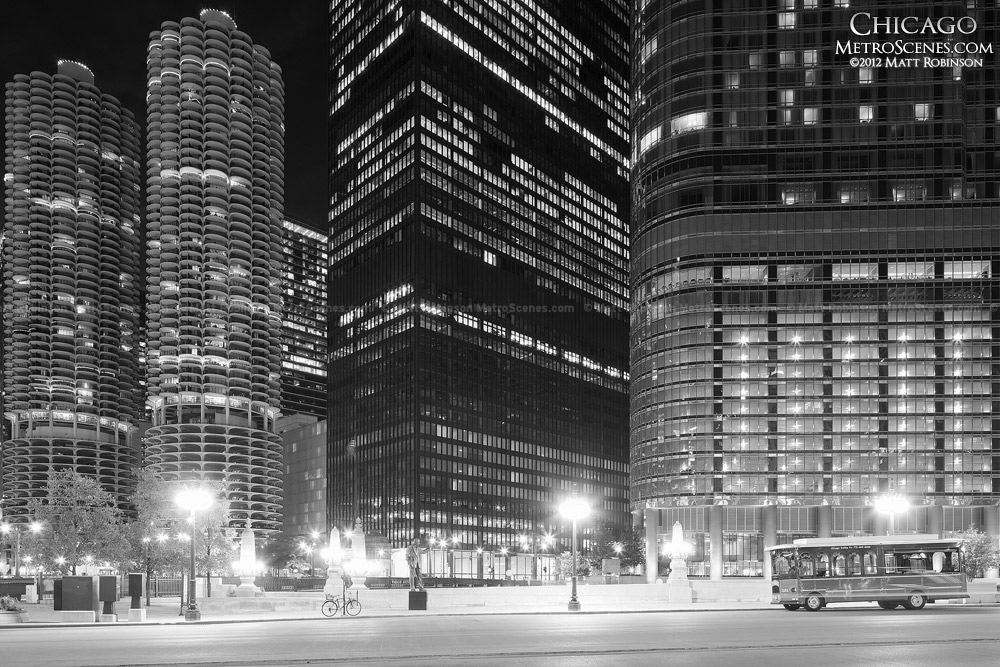 IBM Building with Marina City and Trump Tower, Black and White