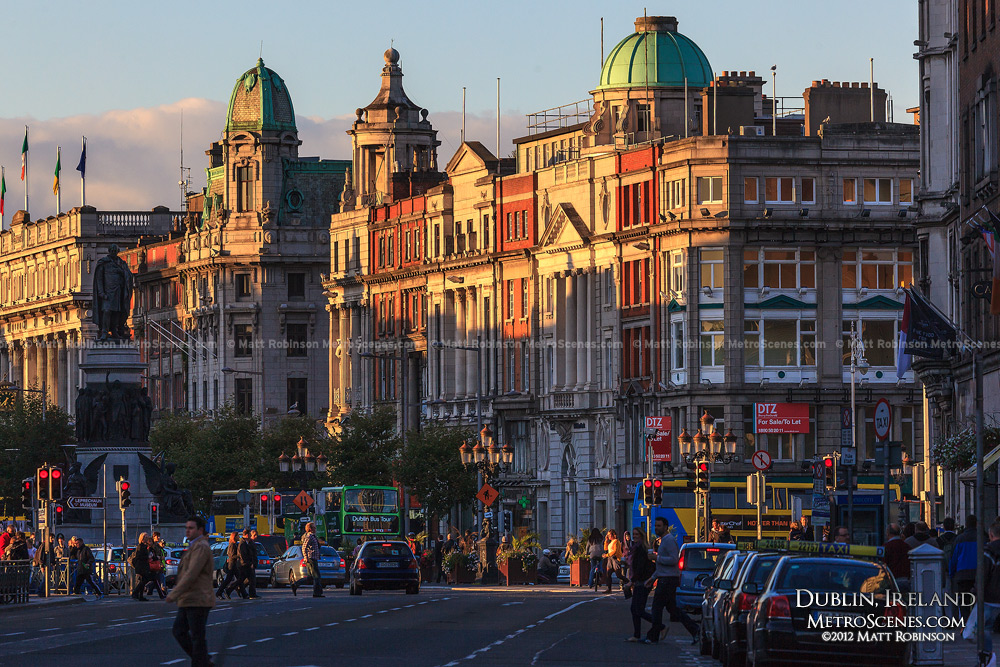 Fading sunlight on facades of O'Connell Street in Dublin