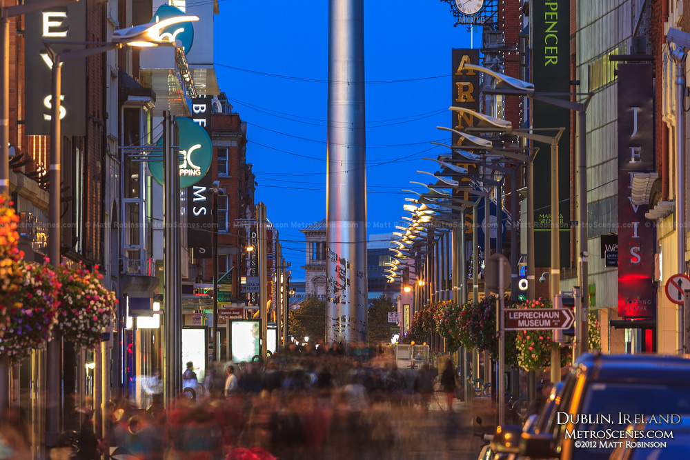 Dublin's Mary Street at night with the base of the Spire