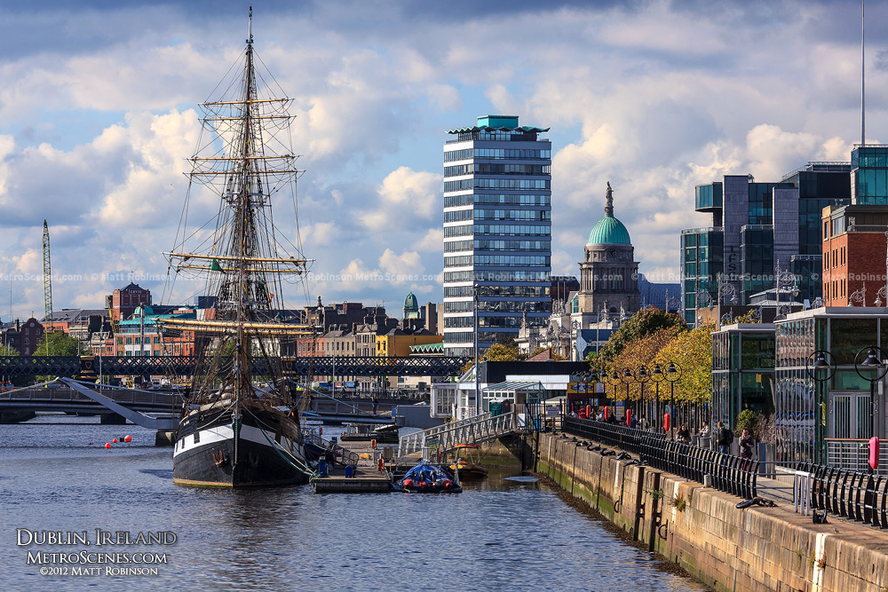 The Jeanie Johnston Tall Ship sits along the Liffey in Dublin fall